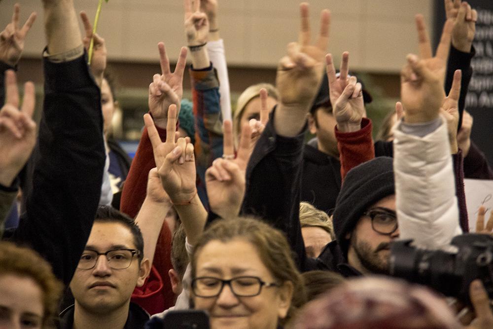 Protests at DIA, Jan. 28, 2017. (Kevin J. Beaty/Denverite)  amal kassir; immigration; refugees; politics; protest; copolitics; rally; dia; denver; colorado; kevinjbeaty;