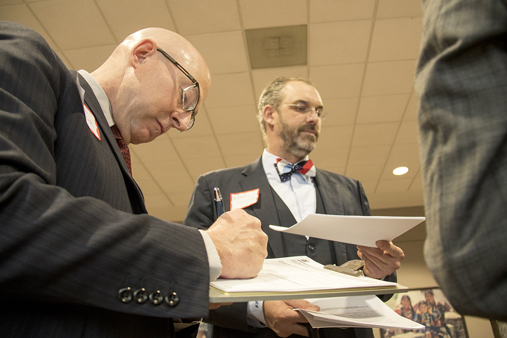 They called it a de faco law firm. 20 lawyers showed up and set up a pop-up, pro-bono law office at DIA. Jan. 28, 2017. (Kevin J. Beaty/Denverite)  immigration; refugees; politics; protest; copolitics; rally; dia; denver; colorado; kevinjbeaty