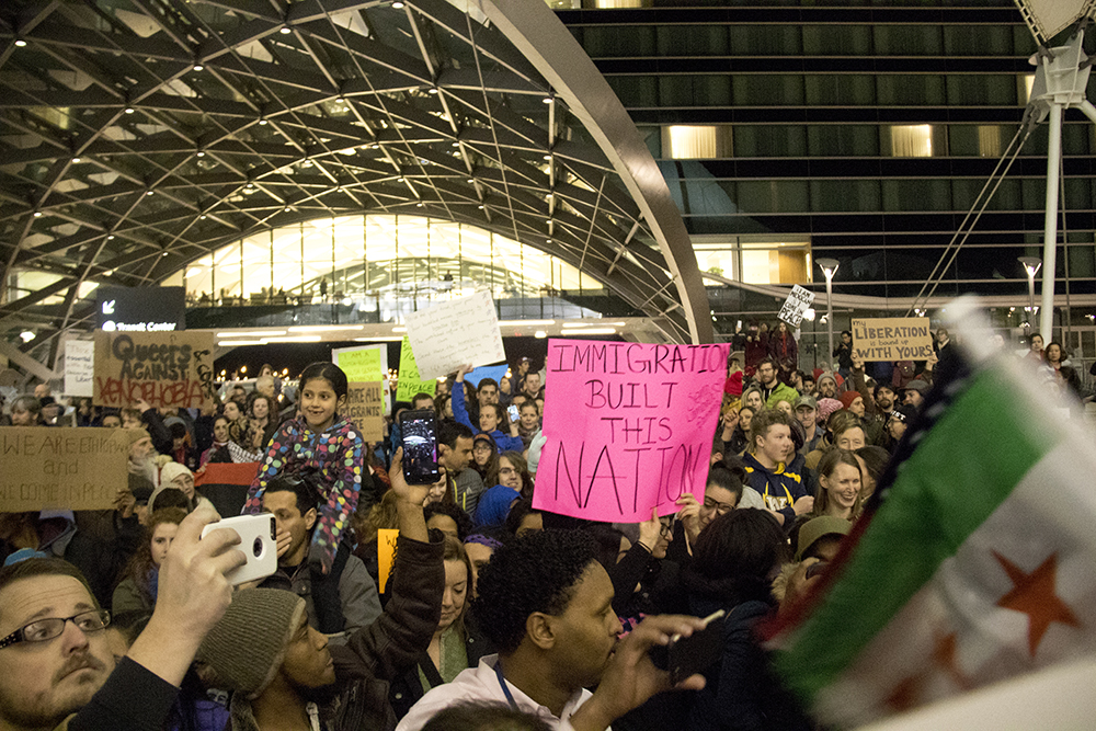 Protests at DIA. Jan. 28, 2017. (Kevin J. Beaty/Denverite)  immigration; refugees; politics; protest; copolitics; rally; dia; denver; colorado; kevinjbeaty