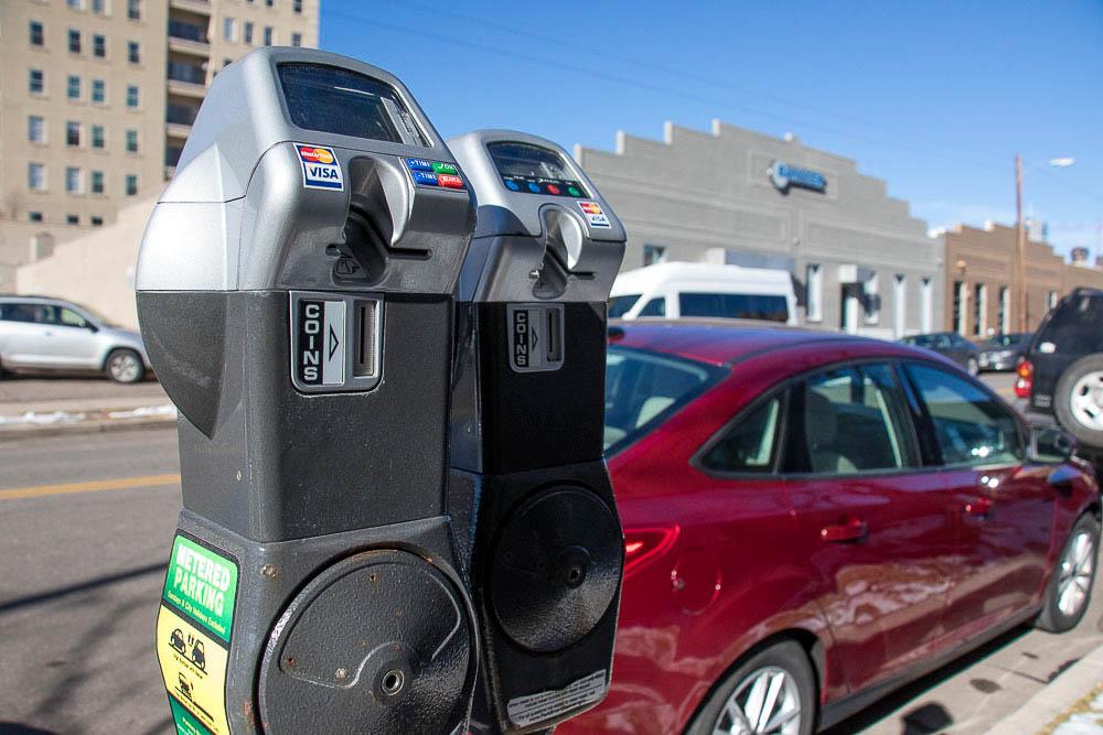Parking meters along Delaware St. (Chloe Aiello/Denverite)