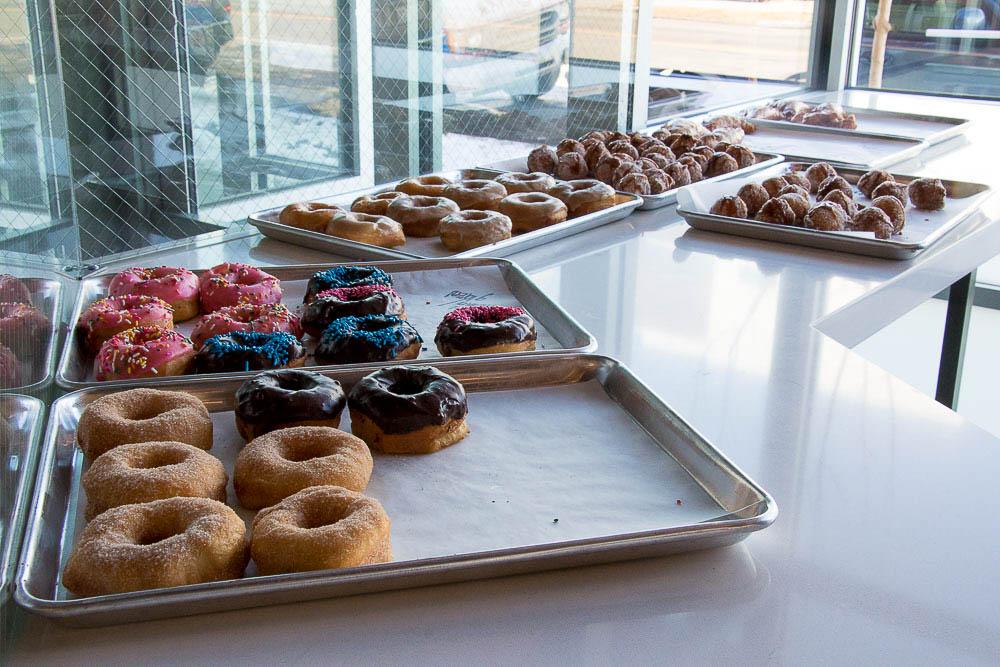 Doughnuts from Oskar Blues Fooderies' Hotbox Roasters. (Chloe Aiello/Denverite)