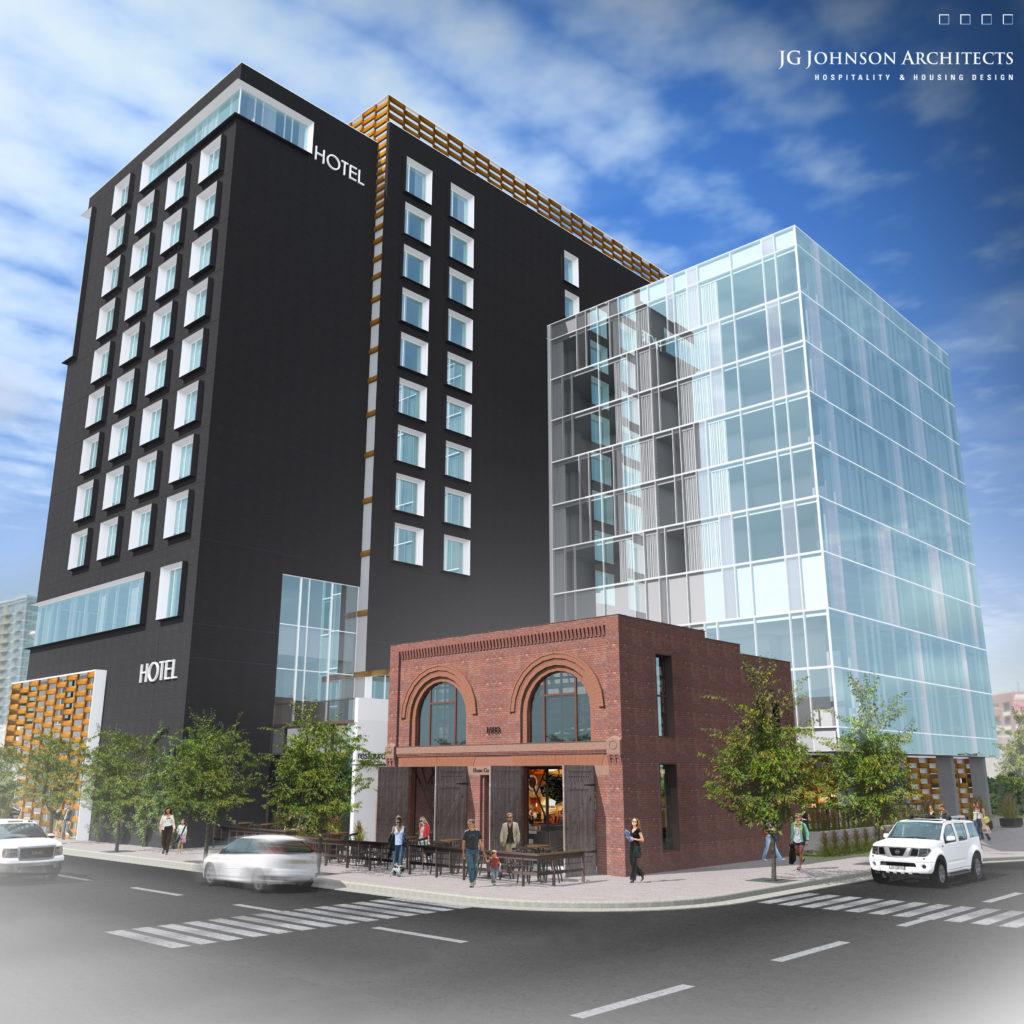 A rendering of Hilton Garden Inn in Denver. (Courtesy CBRE Hotels)