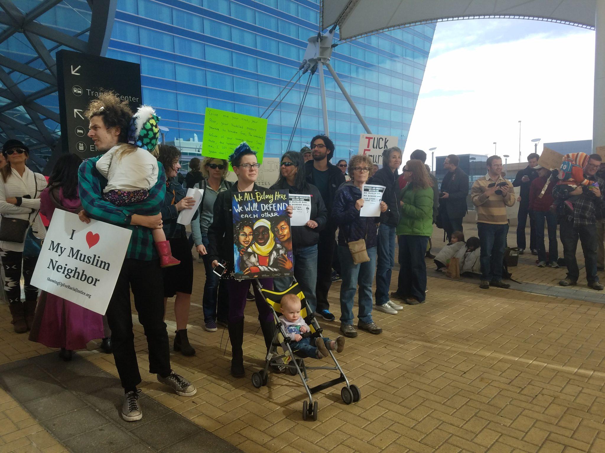 Protestors against Trump's refugee ban outside of Denver International Airport on Jan. 29, 2017.