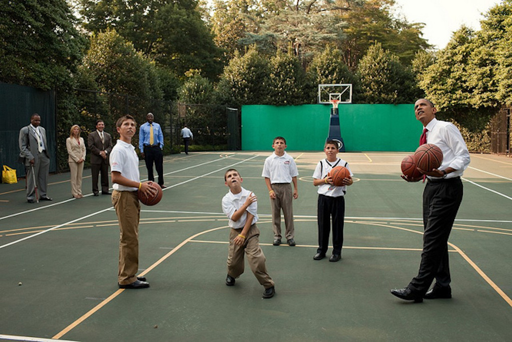 Here's President Barack Obama shooting some hoops back in 2010. (Pete Souza/White House)