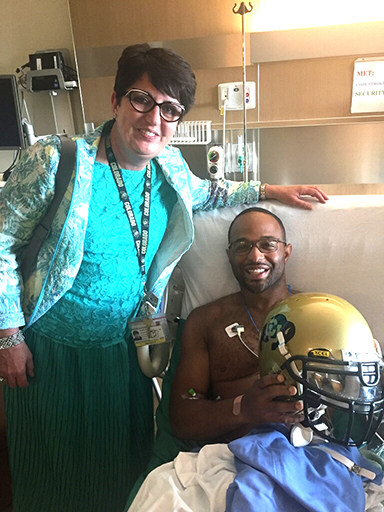 Dr. Evalina Burger with Councilman Albus Brooks during his recovery from a sarcoma surgery. (CU Anschutz Medical Campus)