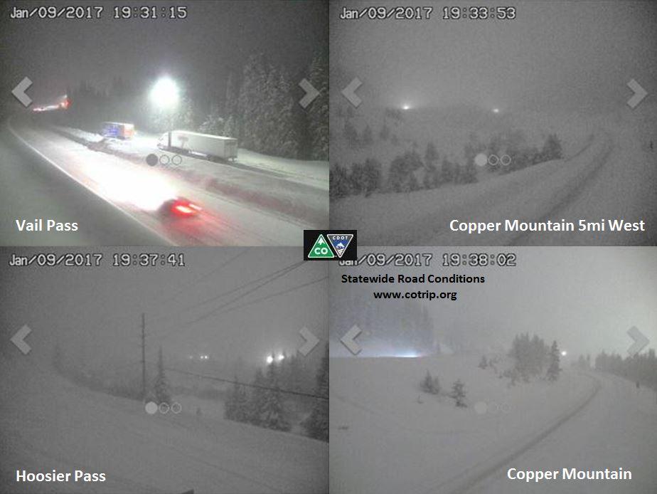 Snow blankets mountain passes on the night of Jan. 10. (CDOT)
