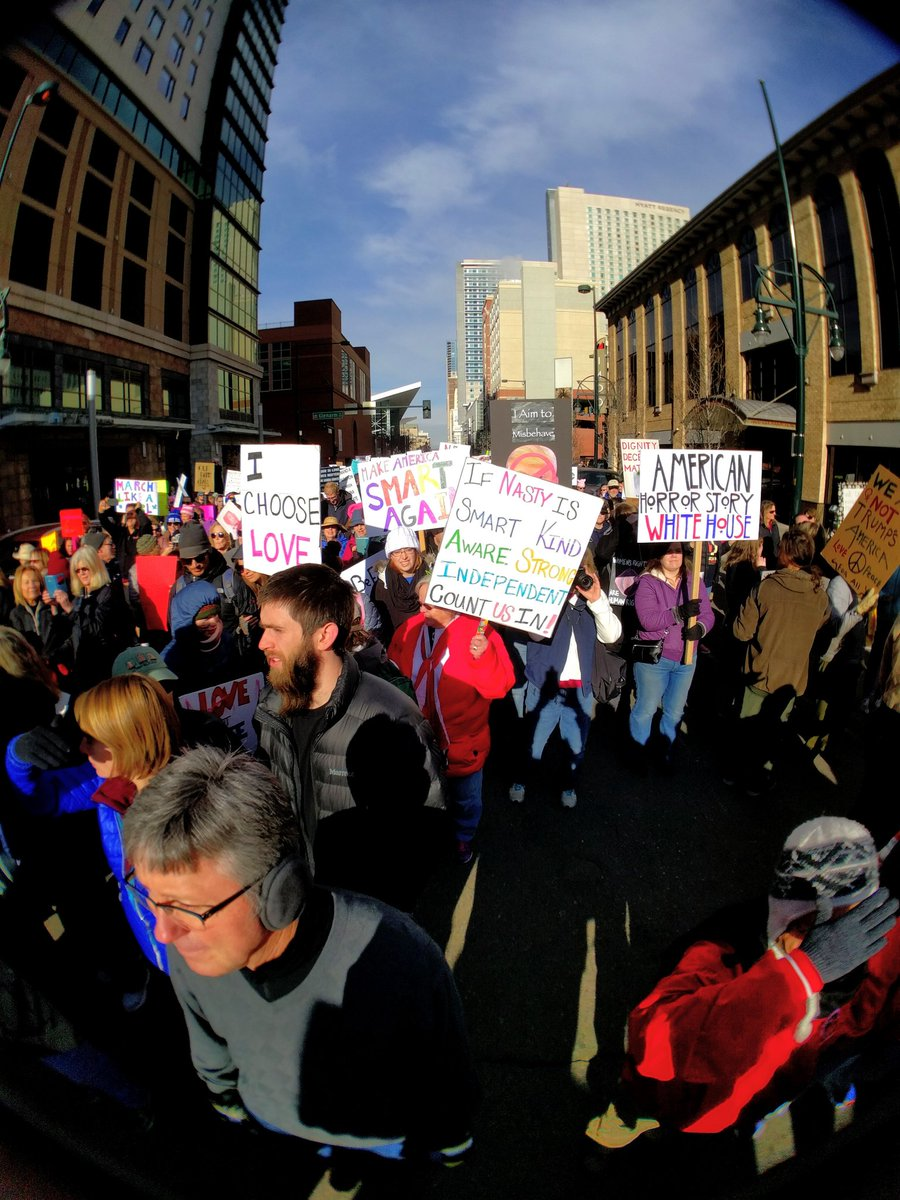 Thousands march downtown for the Women's March on Denver. (Kevin J. Beaty/Denverite)