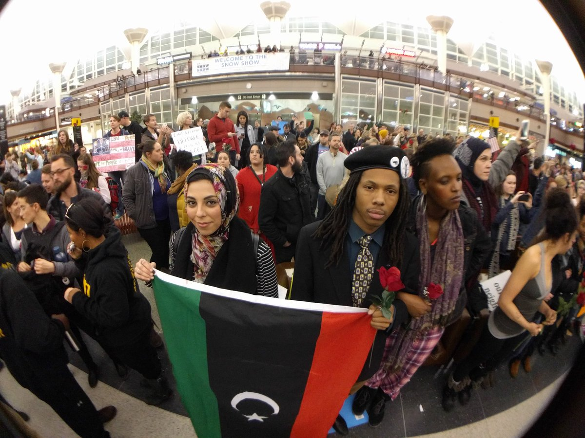 Demonstrators at DIA. Jan. 28, 2017. (Kevin J. Beaty/Denverite)