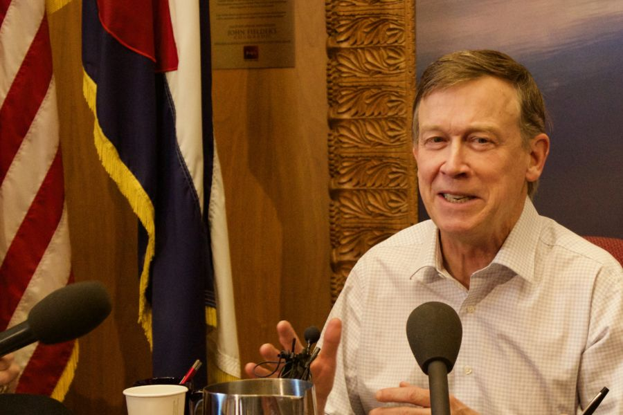 Gov. John Hickenlooper spoke to reporters on the eve of the 2017 General Assembly. (Nicholas Garcia/Chalkbeat)