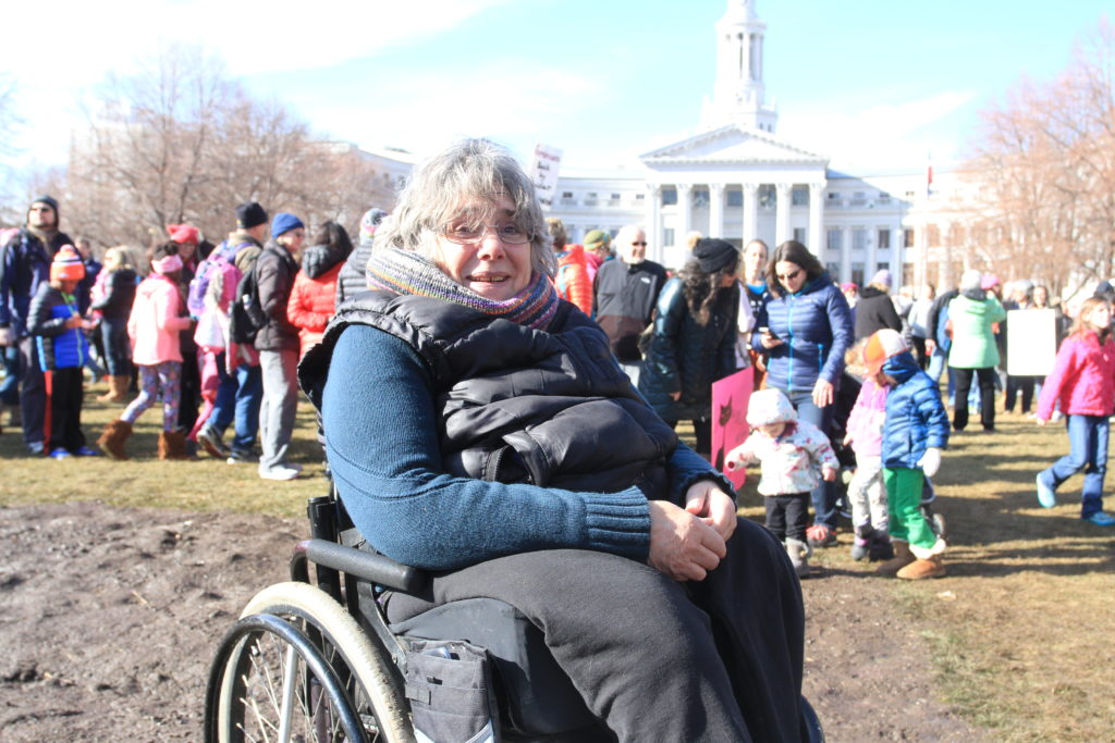 Sandy Petersen attends the Women's March on Denver on Saturday, Jan. 21, 2017.