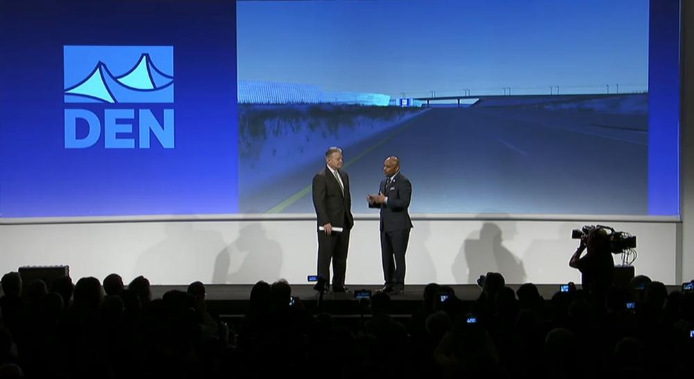 Mayor Michael Hancock, right, and Panasonic North America CEO Joe Taylor at CES 2017. (Livestream.com)