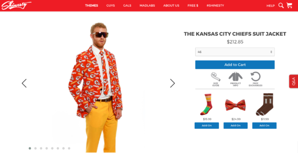 This Kansas City Chiefs jacket is, uhhh, a little pricy. (Screen shot via Shinesty.com)