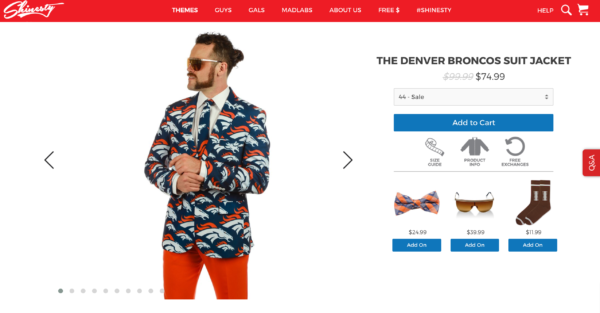 This Broncos jacket can be yours for one small payment of $74.99. (Screen shot via Shinesty.com)