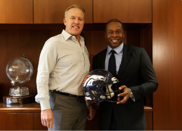 John Elway announced that the Broncos have hired Vance Joseph as their new head coach. (Screen shot via Twitter)