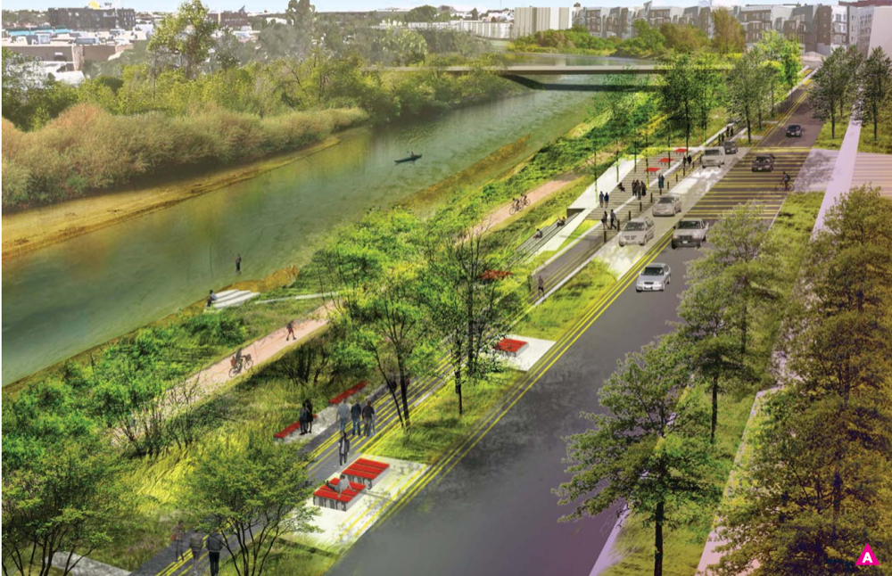 A rendering of early designs for the RiNo Promenade. (Wenk Associates, city of Denver)