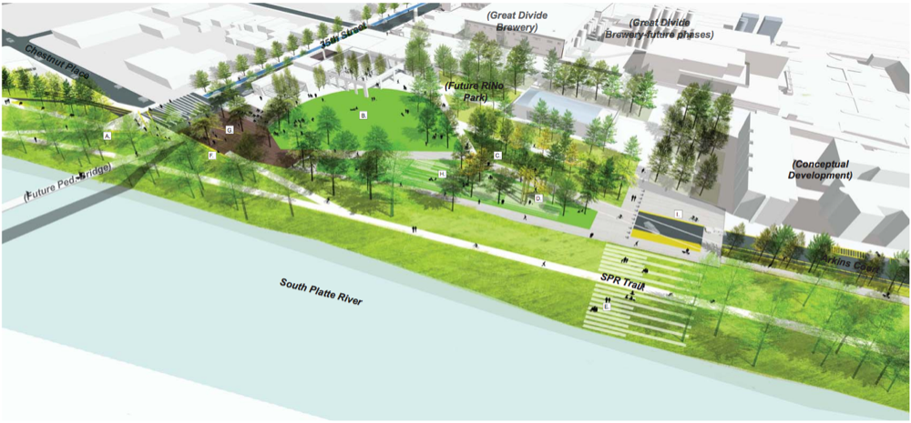 A rendering of early plans for the RiNo Promenade. (Wenk Associates, city of Denver)