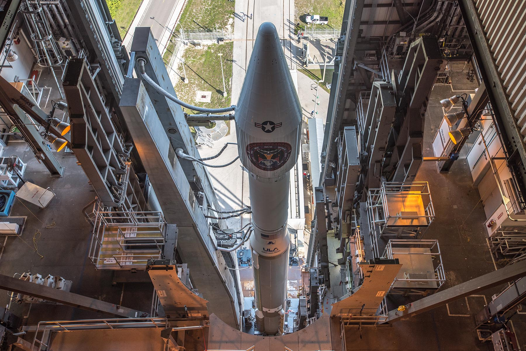 The SBIRS GEO Flight 3 satellite awaits launch from Space Launch Complex-41 at Cape Canaveral Air Force Station in Florida. (Courtesy of ULA)