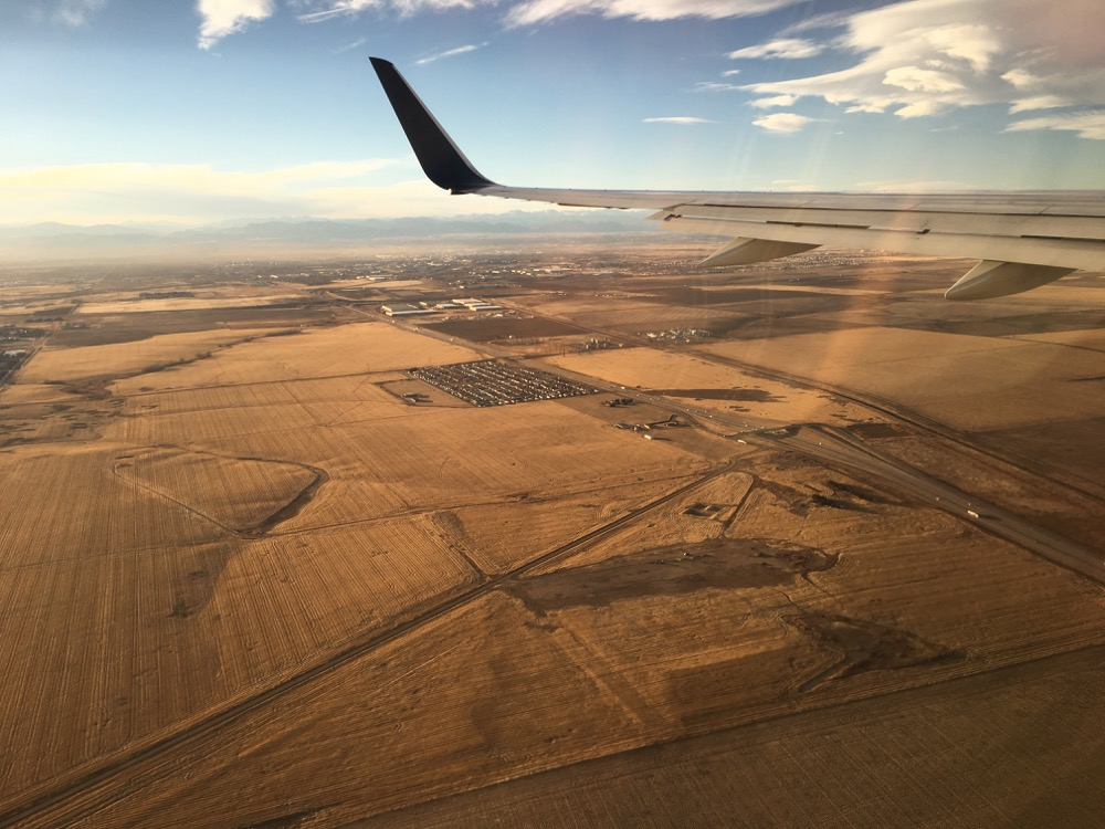 The plains east of Denver as seen from a passenger airliner. (Andrew Kenney/Denverite)