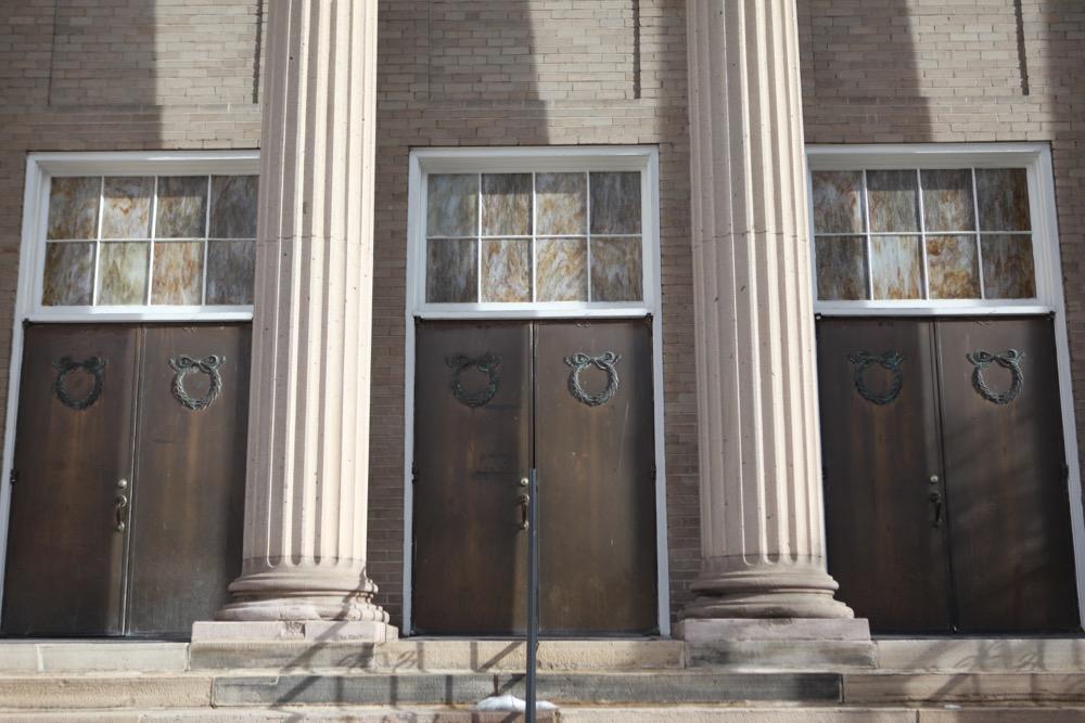 The metal doors of Alma Temple. (Andrew Kenney/Denverite)