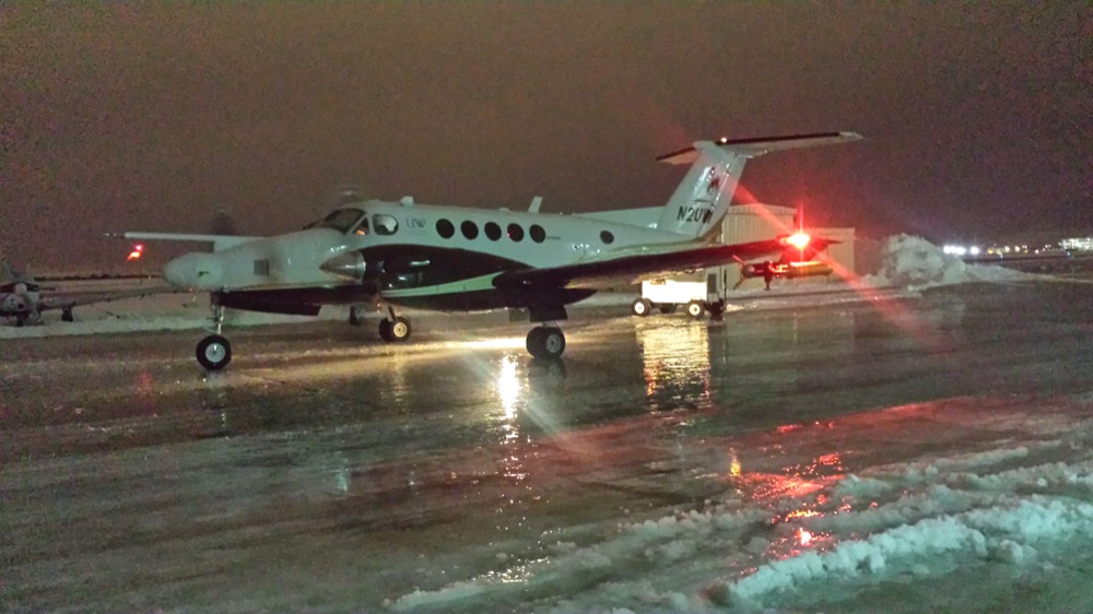 The University of Wyoming King Air, which will monitor the SNOWIE experiment from the sky. (Courtesy Matt Burkhart, University of Wyoming)