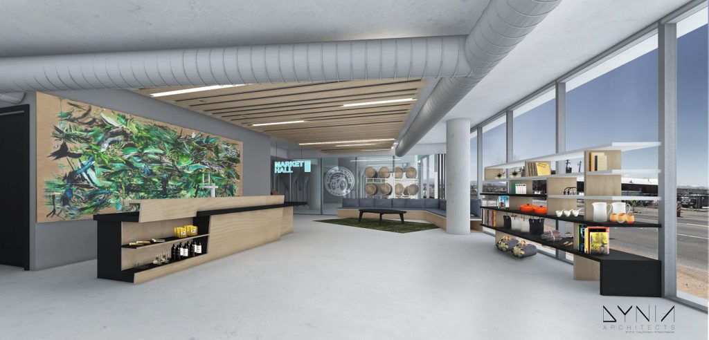 The lobby of The Source Hotel, which is to include a miniature brewery by New Belgium. (Courtesy Zeppelin Development)