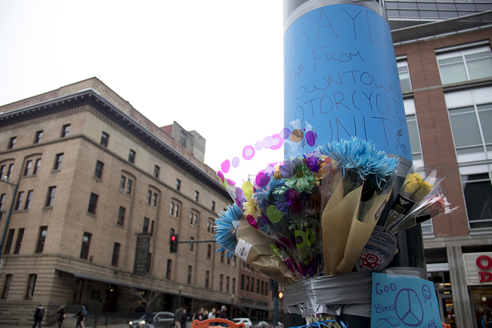 A memorial for RTD security guard Scott Von Lanken near Union Station, Feb. 1, 2017. (Kevin J. Beaty/Denverite)  union station; scott von lankin; memorial; denverite; denver; colorado; kevinjbeaty;