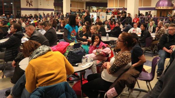 North High School is packed during the Colorado Latino Forum's Sanctuary City Policy Discussion with Immigration Leaders at North High School, Feb. 2, 2017. (Kevin J. Beaty/Denverite)  colorado latino forum; Sanctuary City Policy Discussion with Immigration Leaders; denver; denverite; kevinjbeaty;