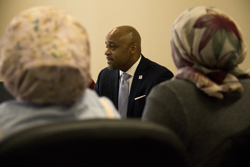 Mayor Michael Hancock meets with the Denver Immigrant & Refugee Commission, Feb. 3, 2017. (Kevin J. Beaty/Denverite)  immigration; refugees; mayor michael hancock; city and county building; kevinjbeaty; denver; denverite; colorado;