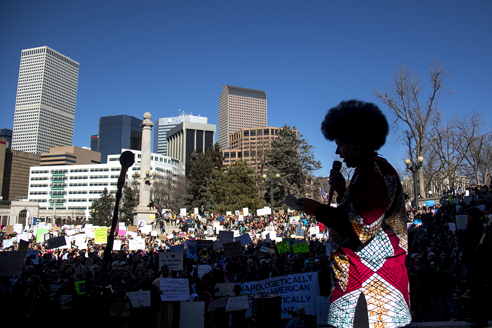 """The full-time activist known as """"Queen Phoenix"""" or Dezy led the event. The Protect Our Muslim Neighbors Rally at Civic Center Park, Feb. 4, 2017. (Kevin J. Beaty/Denverite)  march; protest; muslim neighbors; civic center park; copolitics; kevinjbeaty; denver; denverite;"""