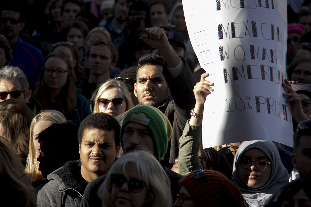 The Protect Our Muslim Neighbors Rally at Civic Center Park, Feb. 4, 2017. (Kevin J. Beaty/Denverite)  march; protest; muslim neighbors; civic center park; copolitics; kevinjbeaty; denver; denverite;