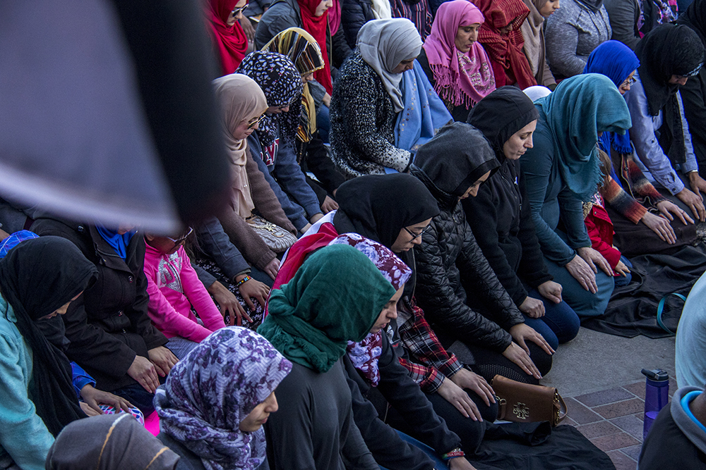 Afternoon prayer during the Protect Our Muslim Neighbors Rally at Civic Center Park, Feb. 4, 2017. (Kevin J. Beaty/Denverite)  march; protest; muslim neighbors; civic center park; copolitics; kevinjbeaty; denver; denverite;