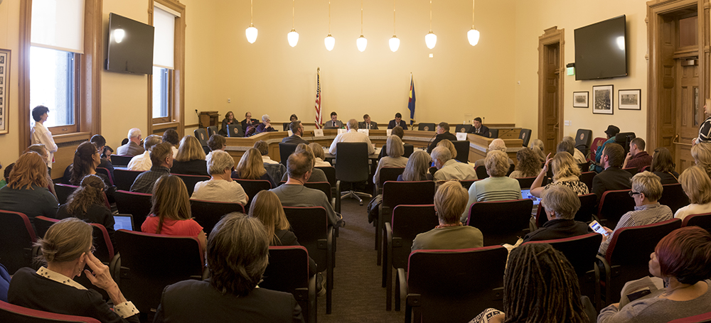 A Colorado Senate Finance Committee meeting about a bill that would end the state's healthcare marketplace. Feb. 7, 2017. (Kevin J. Beaty/Denverite)  healthcare; copolitics; capitol; kevinjbeaty; denver; denverite; colorado;