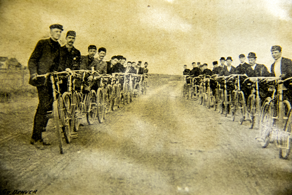 "Riders on the ""Brighton Road."" A Denver Wheel Club scrapbook saved in the Denver Public Library's Western History Collection archive. (Denver Wheel Club Records/ Denver Public Library/Western Hisotry Collection)  denver public library; dpl; denver; colorado; history; archive; bike; bicycle; cycling;"