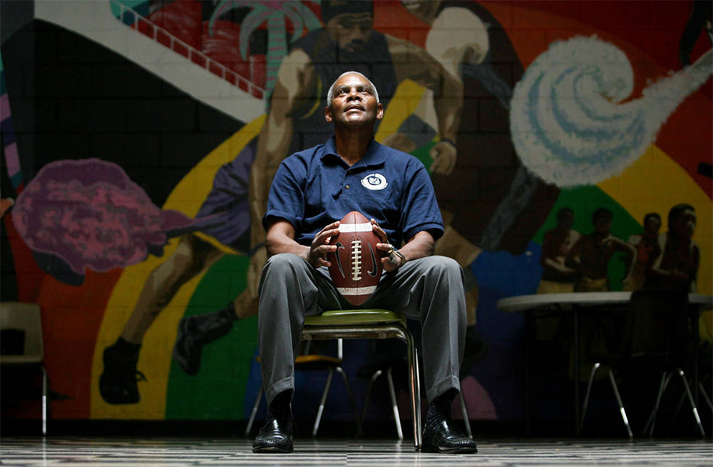 Former Broncos quarterback Marlin Briscoe is photographed at the Eastman-Fairfield Boys and Girls Club in Long Beach, California where he is Assistant Director. 2008. (Christina House for the Rocky Mountain News/Denver Public Library/Western History Collection/RMN-044-2618)  archive; history; sports; football; dpl; denver public library;
