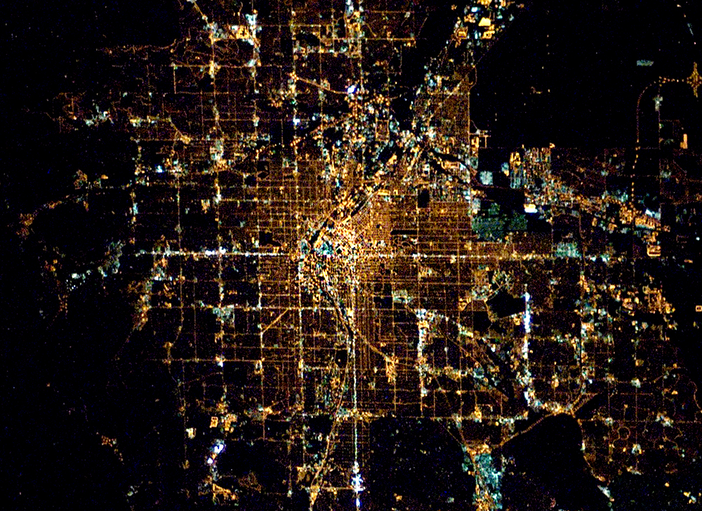 Denver at night from space. Full size available for free. (International Space Station/NASA/Public Domain)