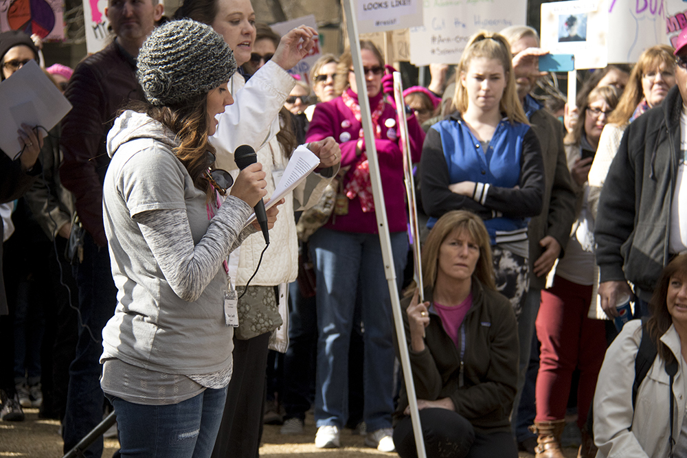 Organizer Tiffany Caudill speaks at her rally in support of Planned Parenthood at Skyline Park, Feb. 11, 2017. (Kevin J. Beaty/Denverite)  rally; planned parenthood; abortion; protest; copolitics; skyline park; denver; kevinjbeaty; denverite; colorado