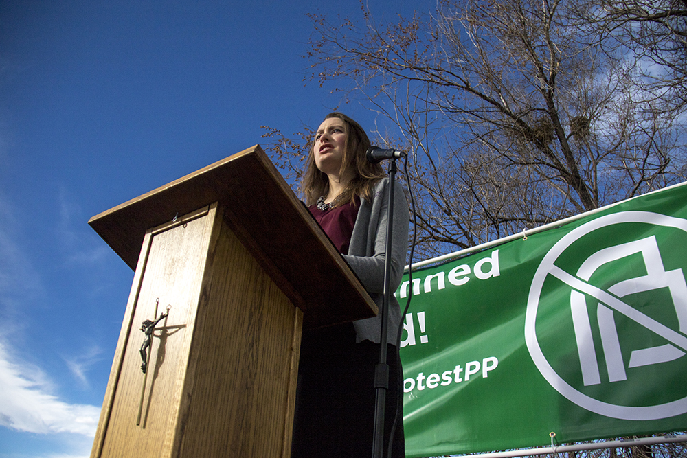 "Bethany Janzen speaks during a ""Defund Planned Parenthood"" Rally outside Planned Parenthood of the Rockies, Feb. 11, 2017. (Kevin J. Beaty/Denverite)  abortion; pro life; planned parenthood; denver; colorado; kevinjbeaty; denverite; copolitics; politics;"