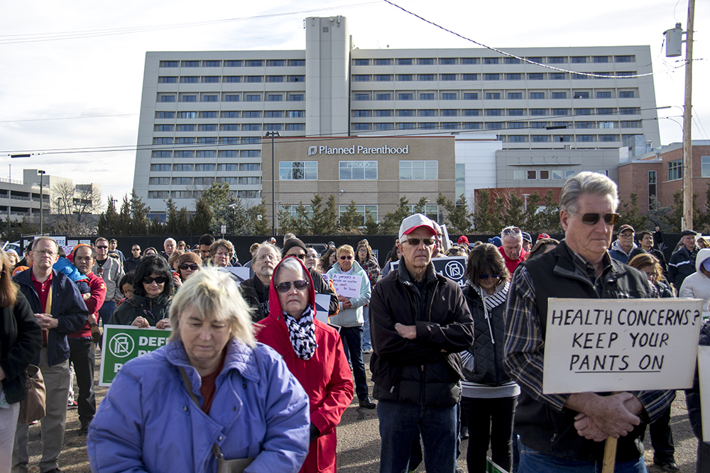 "There were about 200 people in attendance at the ""Defund Planned Parenthood"" Rally outside Planned Parenthood of the Rockies, Feb. 11, 2017. (Kevin J. Beaty/Denverite)