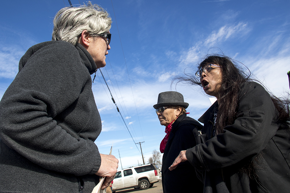 "Brenda C. (right), a counter protester yells at a pro-life rallier. A ""Defund Planned Parenthood"" Rally outside Planned Parenthood of the Rockies, Feb. 11, 2017. (Kevin J. Beaty/Denverite)  abortion; pro life; planned parenthood; denver; colorado; kevinjbeaty; denverite; copolitics; politics;"
