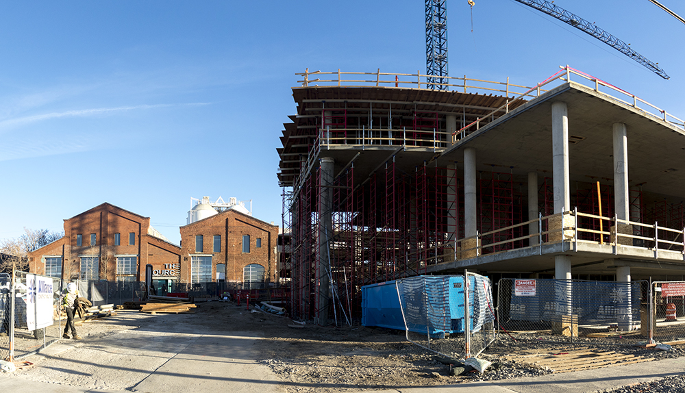 The Source next to much construction. (Kevin J. Beaty/Denverite)  construction; development; brighton; rino; kevinjbeaty; denver; denverite; colorado;