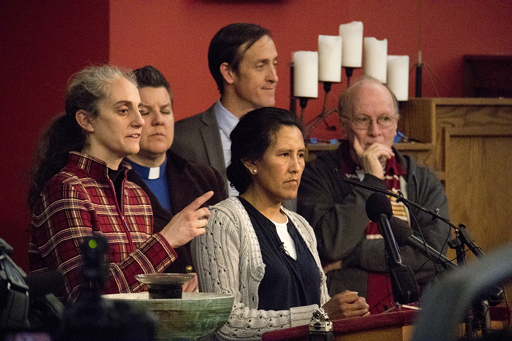 Jeanette Vizguerra addresses supporters at the First Unitarian Society of Denver where she has taken sanctuary, Feb. 15, 2017. (Kevin J. Beaty/Denverite)  jeanette vizguerra; immigration; undocumented; deportation; sanctuary; denver; colorado; kevinjbeaty; denverite;