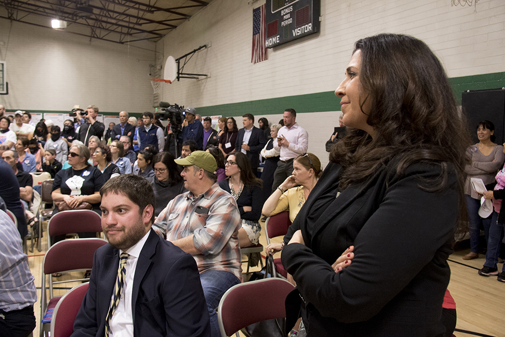 Colorado Speaker of the House Crisanta Duran listens during a CDOT meeting on the I-70 expansion project at the Swansea Rec Center, Feb 16, 2017. (Kevin J. Beaty/Denverite)  i-70; i70; development; cdot; elyria-swansea; meeting; kevinjbeaty; denver; denverite; colorado;