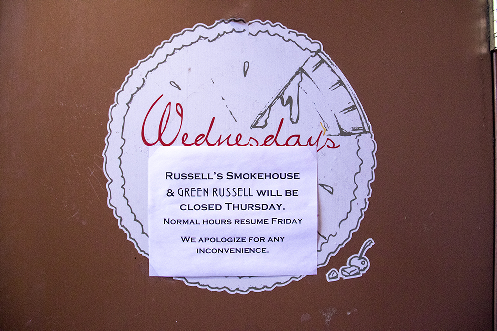 """Green Russell and Russell's Smokehouse in Larimer Square closed on the """"day without immigrants,"""" Feb. 16, 2016. (Kevin J. Beaty/Denverite)  day without immigrants; immigration; deportation; kevinjbeaty; denver; restaurant; food; larimer square; denverite; colorado; copolitics;"""