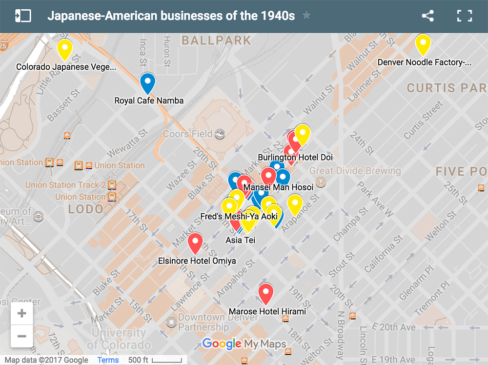 Locations listed in a presentation by Dr. Lane Hirabayashi, a professor of Asian-American Studies at UCLA, at the History Colorado Center on Feb. 19, 2017. Red pins are hotels, blue are restaurants, yellow are wholesale food suppliers. (Google/MyMaps)