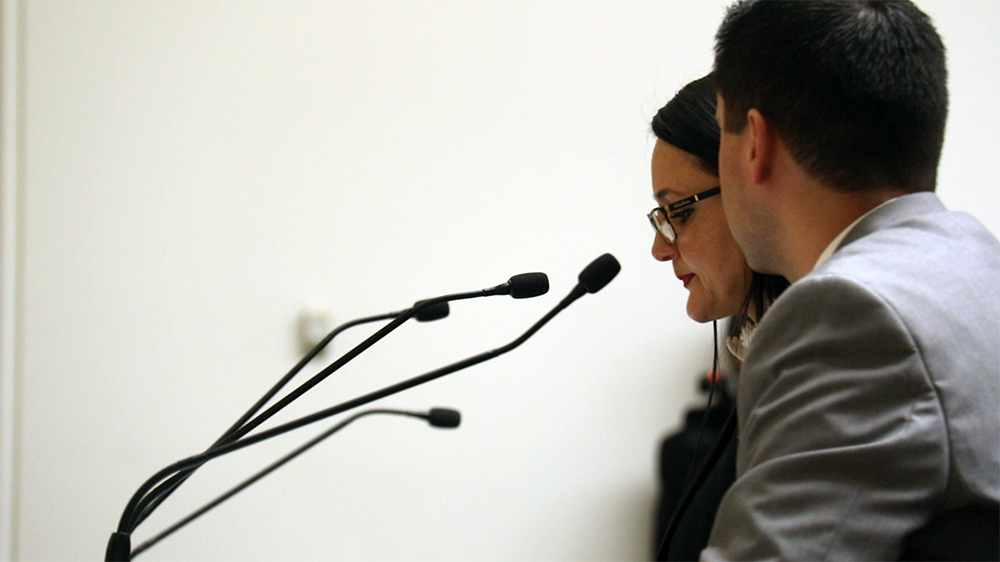 Christine Goodman, whose husband was killed by an undocumented drunk driver, speaks during the hearing for House Bill 1134, Feb. 22, 2017. (Kevin J. Beaty/Denverite)  immigration; capitol; copolitics; sanctuary; kevinjbeaty; denver; colorado; denverite;