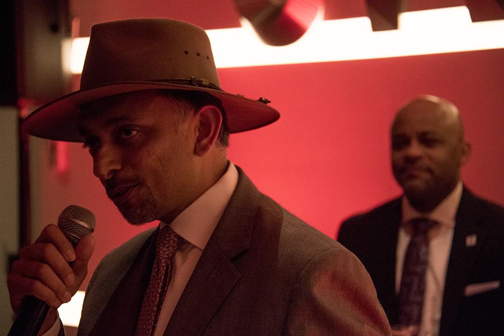 Ambrish Bisiwala, President and CEO of Portman Holdings and Mayor Michael Hancock. Hotel Indigo's grand opening at 1801 Wewatta St, Feb. 23, 2017. (Kevin J. Beaty/Denverite)  denver; denverite; hotel indigo; union station;