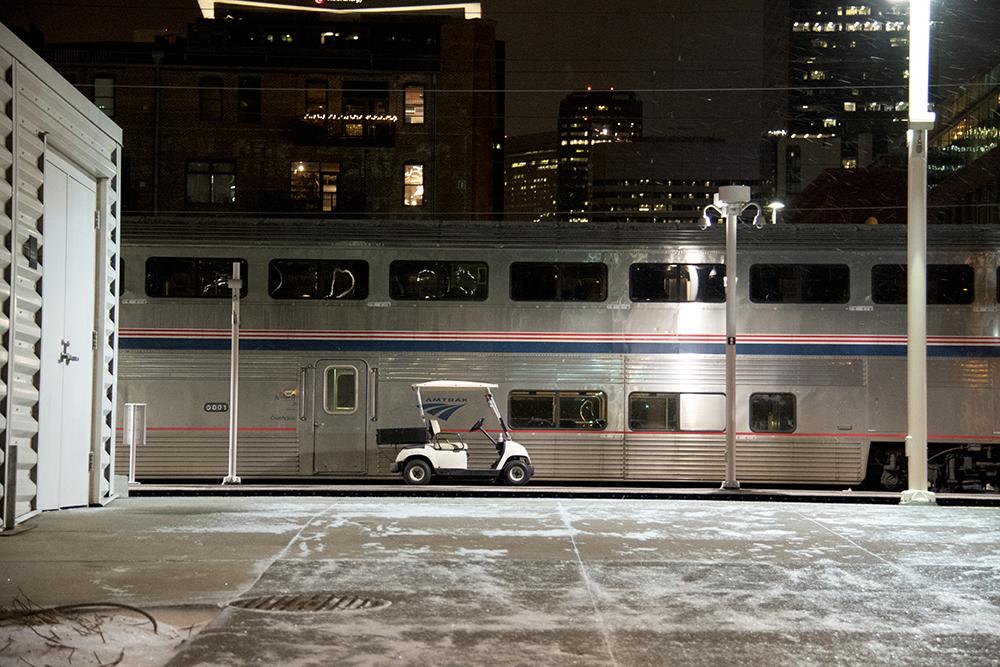 Big and little vehichles at Union Station. (Kevin J. Beaty/Denverite)  denver; denverite; hotel indigo; union station; rtd; train;