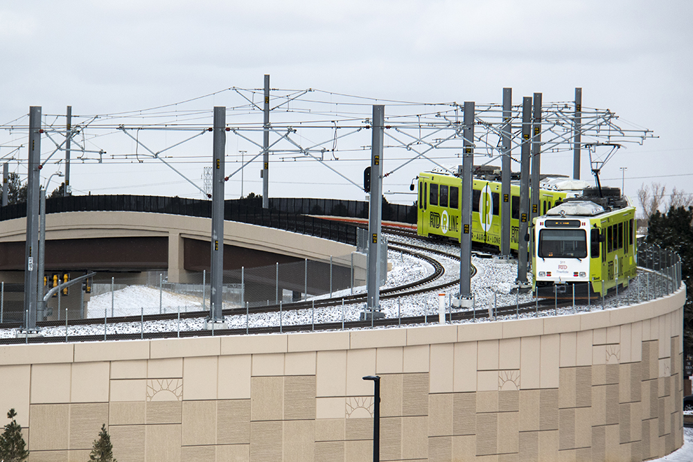 The R Line on tracks on the day of its opening, Feb. 24, 2017. (Kevin J. Beaty/Denverite)  rtd; r line; train; light rail; aurora; kevinjbeaty; denver; denverite; colorado; transit; transportation;