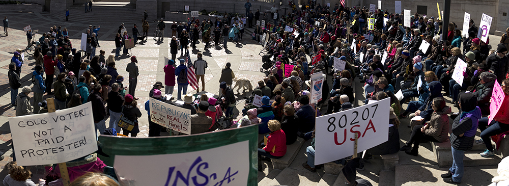 A rally in support of the Affordable Care Act, Feb. 25, 2017. (Kevin J. Beaty/Denverite)  affordable care act; healthcare; aca; copolitics; rally; protest; civic center park; kevinjbeaty; denver; denverite; colorado;