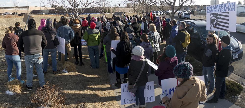 A rally outside of the GEO private immigrant detention facility. (Kevin J. Beaty/Denverite)  ICE; immigration; deportation; aurora; protest; rally; denver; colorado; kevinjbeaty; denverite